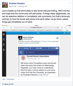 Screenshot of CSMA group alert when the smear was starting to circulate