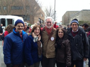 Late April in Ithaca (L to R): Wayne Merkelson '73, Jane Cashman, Paul Cashman'73, Nancy Roistacher '72, Eliot Greenwald '73.