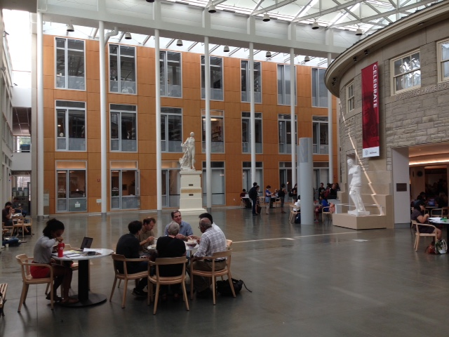 Atrium between Klarman Hall (facing) and rear of Goldwyn Smith (right). Temple of Zeus has relocated to the space to the right.