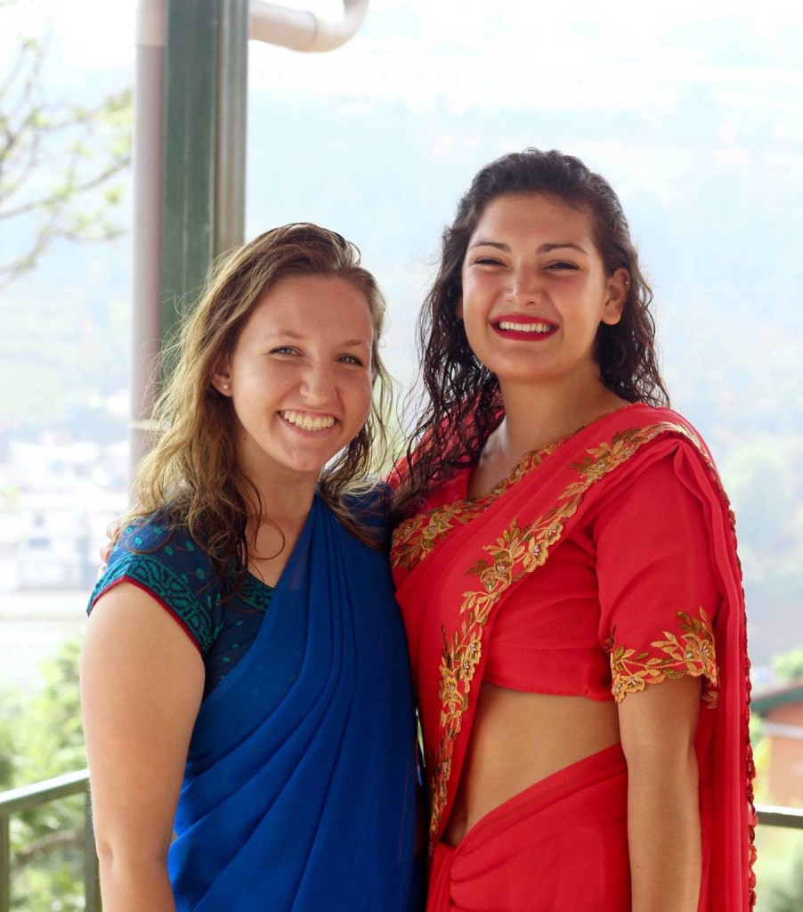 Class of '73 Scholarship recipient Rachel Stein '18 (left) with Asja Moynihan '18 (Global Health major and India program co-participant)